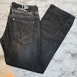 Metal mulisha men's 34 black jeans with accents
